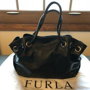 Furla Genuine Leather Black Handbag *LIKE NEW*